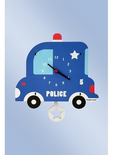Peoples Clock Polis Sallanan Sarkaçlı Çocuk Odası Duvar Saati Renkli